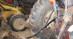 The junction of the two hoses.
