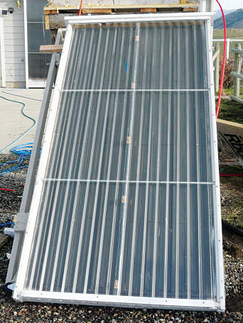 A home-built, DIY solar thermal collector. photo courtesy www.builditsolar.com.