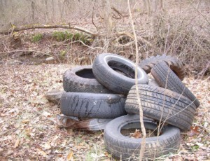 The last of the tires and vehicle gas tanks we cleaned up on our new property.